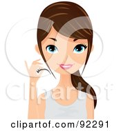 Royalty Free RF Clipart Illustration Of A Brunette Caucasian Woman Applying False Lashes