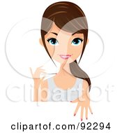 Royalty Free RF Clipart Illustration Of A Brunette Caucasian Woman Painting Her Nails Pink Behind A White Sign Or Table by Melisende Vector