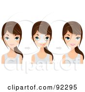 Royalty Free RF Clipart Illustration Of A Brunette Caucasian Woman Shown Before And After A Nose Job