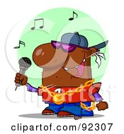 Royalty Free RF Clipart Illustration Of An African American Rapper Dude Singing by Hit Toon