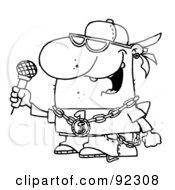 Royalty Free RF Clipart Illustration Of An Outlined Rapper Dude Singing
