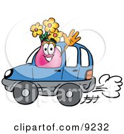Vase Of Flowers Mascot Cartoon Character Driving A Blue Car And Waving