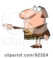 Royalty Free RF Clipart Illustration Of A Mad Caucasian Woman Pointing The Blame