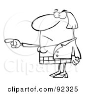 Royalty Free RF Clipart Illustration Of A Mad Outlined Woman Pointing The Blame