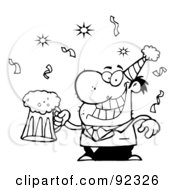 Royalty Free RF Clipart Illustration Of An Outlined Drunk New Years Man Holding Beer