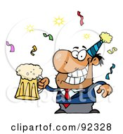 Royalty Free RF Clipart Illustration Of A Drunk New Years Party Guy Holding Beer