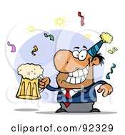 Royalty Free RF Clipart Illustration Of A Drunk New Years Party Man Holding Beer