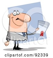 Royalty Free RF Clipart Illustration Of A Successful Caucasian Business Guy Holding An Award Or Contract