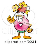 Clipart Picture Of A Vase Of Flowers Mascot Cartoon Character Wearing A Santa Hat And Waving