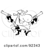 Royalty Free RF Clipart Illustration Of An Outlined Outlaw Cowboy Holding Up Two Pistols