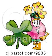 Vase Of Flowers Mascot Cartoon Character With A Green Four Leaf Clover On St Paddys Or St Patricks Day