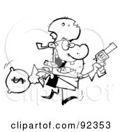 Royalty Free RF Clipart Illustration Of An Outlined Outlaw Cowboy Running With A Pistol And Sack Of Money