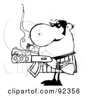 Royalty Free RF Clipart Illustration Of An Outlined Tough Gangster Holding Two Machine Guns And Smoking A Cigar