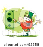 Royalty Free RF Clipart Illustration Of A Rich Leprechaun Holding A Dollar Bill by Hit Toon