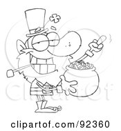 Royalty Free RF Clipart Illustration Of An Outlined Leprechaun Holding Up His Middle Finger Of A Pot Of Gold
