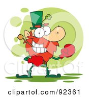 Royalty Free RF Clipart Illustration Of A Leprechaun Boxing With A Pipe In His Mouth