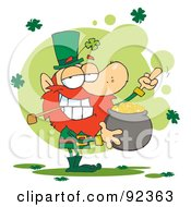 Royalty Free RF Clipart Illustration Of A Leprechaun Holding A Pot Of Gold And Flipping His Middle Finger