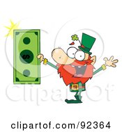 Wealthy Leprechaun Holding A Dollar Bill