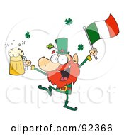 Drunk Leprechuan Dancing With Beer And A Flag