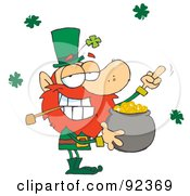 Royalty Free RF Clipart Illustration Of A Leprechaun Holding Up His Middle Finger Of A Pot Of Gold