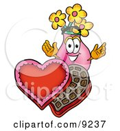 Vase Of Flowers Mascot Cartoon Character With An Open Box Of Valentines Day Chocolate Candies