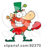 Boxing Leprechaun With A Pipe In His Mouth