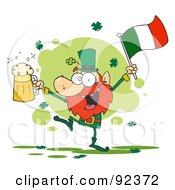 Royalty Free RF Clipart Illustration Of A Dancing Drunk Leprechuan With Beer And A Flag