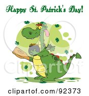 Royalty Free RF Clipart Illustration Of A Happy St Patricks Day Greeting Of A Leprechaun Dragon With A Mace And Gold by Hit Toon
