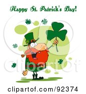 Royalty Free RF Clipart Illustration Of A Happy St Patricks Day Greeting Of A Leprechaun Holding A Clover by Hit Toon