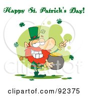 Royalty Free RF Clipart Illustration Of A Happy St Patricks Day Greeting Of A Leprechaun Holding Up His Middle Finger Of A Pot Of Gold by Hit Toon