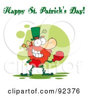 Royalty Free RF Clipart Illustration Of A Happy St Patricks Day Greeting Of A Boxing Leprechaun by Hit Toon