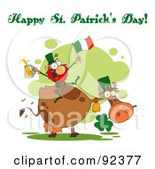 Royalty Free RF Clipart Illustration Of A Happy St Patricks Day Greeting Of A Leprechaun With A Flag And Beer On A Cow by Hit Toon