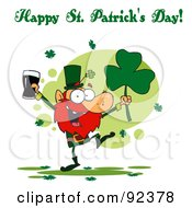 Royalty Free RF Clipart Illustration Of A Happy St Patricks Day Greeting Of A Leprechaun With Beer And A Clover by Hit Toon
