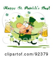 Happy St Patricks Day Greeting Of A Leprechaun Running With Two Beers
