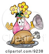Clipart Picture Of A Vase Of Flowers Mascot Cartoon Character Serving A Thanksgiving Turkey On A Platter by Toons4Biz