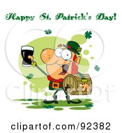 Royalty Free RF Clipart Illustration Of A Happy St Patricks Day Greeting Of A Leprechaun With A Keg And Beer by Hit Toon