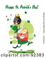 Royalty Free RF Clipart Illustration Of A Happy St Patricks Day Greeting Of A Leprechaun Running With Gold by Hit Toon