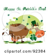 Happy St Patricks Day Greeting Of A Leprechaun Cow