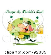 Royalty Free RF Clipart Illustration Of A Happy St Patricks Day Greeting Of A Female Leprechuan With Beer by Hit Toon