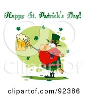 Happy St Patricks Day Greeting Of A Leprechaun Holding A Beer