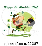 Happy St Patricks Day Greeting Running With A Pot Of Gold