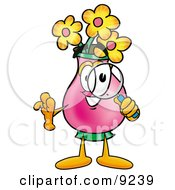 Vase Of Flowers Mascot Cartoon Character Looking Through A Magnifying Glass