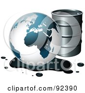 Poster, Art Print Of Globe By A Barrel In An Oil Spill