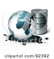 Royalty Free RF Clipart Illustration Of A Globe In An Oil Spill By A Barrel With Shadows