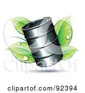 Poster, Art Print Of Oil Barrel Over Dewy Green Leaves