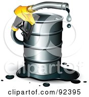 Dripping Gasoline Nozzle Emerging From A Barrel Of Fuel