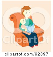Royalty Free RF Clipart Illustration Of A Little Boy Sitting On His Fathers Lap And Reading A Book by Cherie Reve