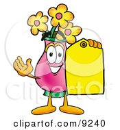 Vase Of Flowers Mascot Cartoon Character Holding A Yellow Sales Price Tag