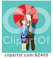 Royalty Free RF Clipart Illustration Of A Couple Under A Red Parasol by Cherie Reve