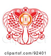 Royalty Free RF Clipart Illustration Of A Red Chinese Double Fish Prosperous Symbol by Cherie Reve